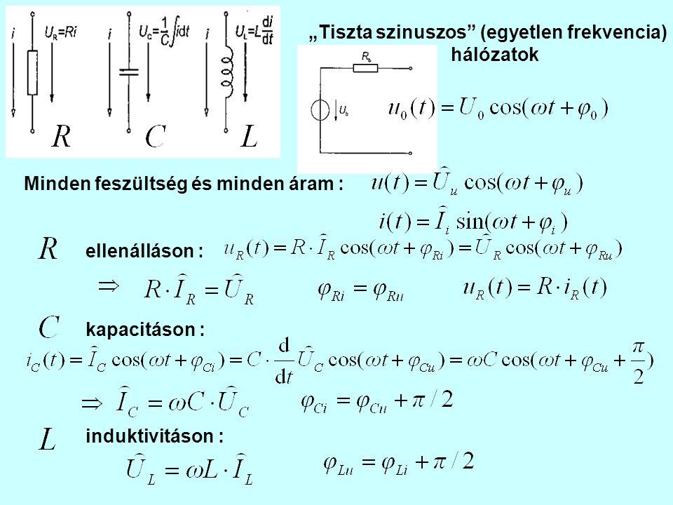 """""""Idő-tartomány A Kirchhoff egyenletek differenciál- egyenlet-rendszerre vezetnek A """"komplex amplitúdók világa A Kirchhoff egyenletek algebrai egyenlet-rendszerre vezetnek Vegyük észre, hogy bevezetve a """"komplex amplitúdókat"""
