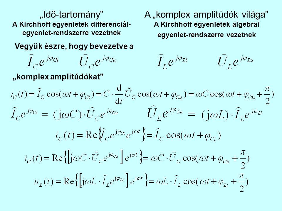 """""""Tiszta szinuszos (egyetlen frekvencia) hálózatok: """"komplex impedanciákkal és admittanciákkal dolgozunk Soros impedanciák összeadódnak Párhuzamos admittanciák összeadódnak"""