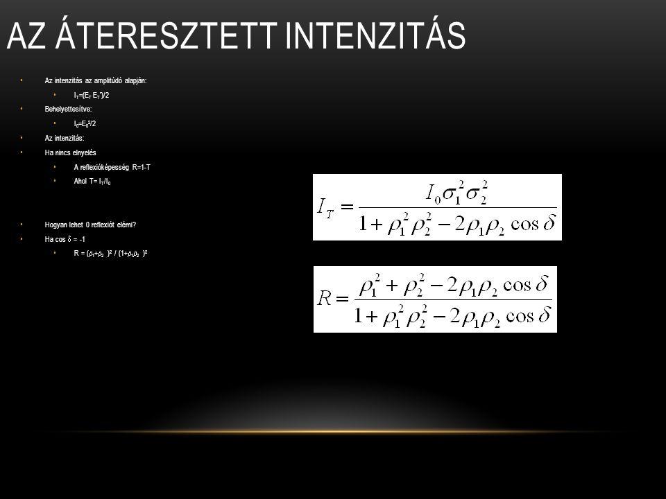 Az intenzitás az amplitúdó alapján: I T =(E T E T * )/2 Behelyettesítve: I 0 =E 0 2 /2 Az intenzitás: Ha nincs elnyelés A reflexióképesség R=1-T Ahol