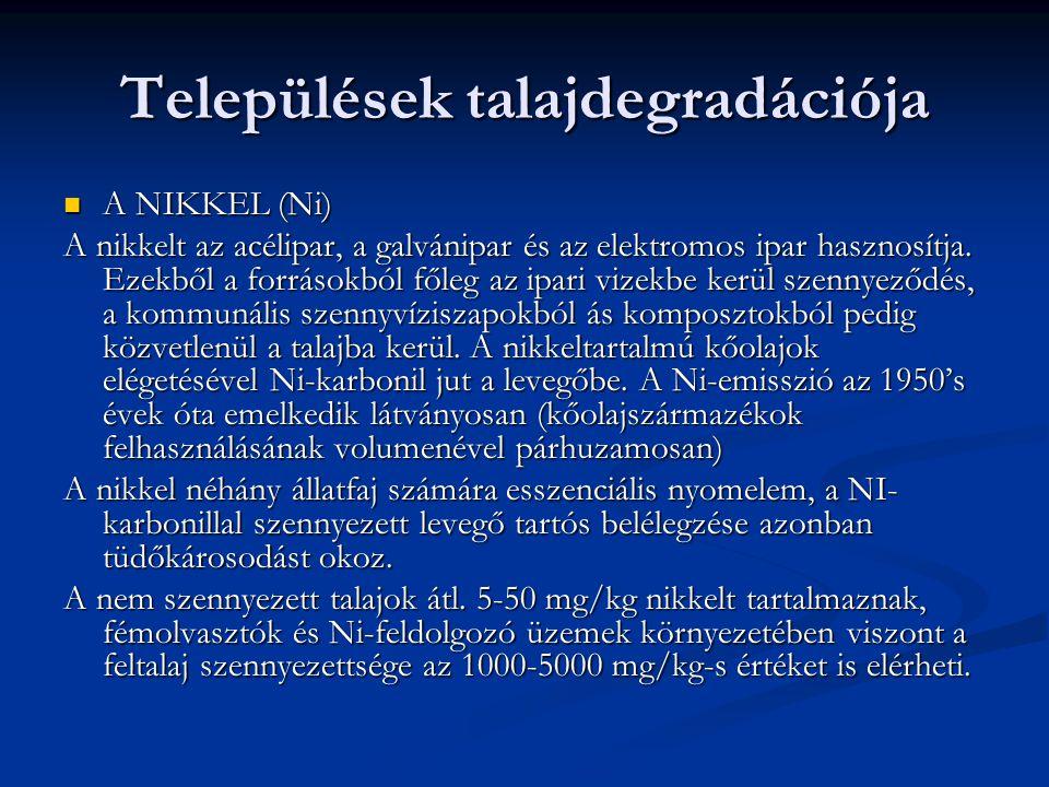 Települések talajdegradációja A NIKKEL (Ni) A NIKKEL (Ni) A nikkelt az acélipar, a galvánipar és az elektromos ipar hasznosítja.