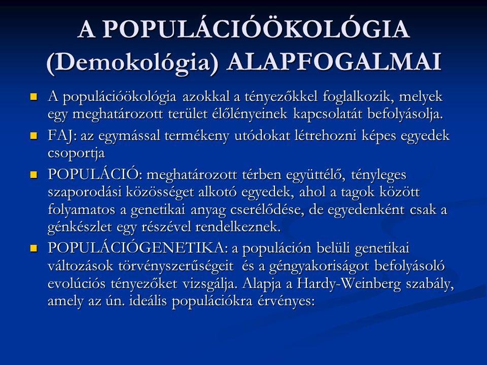 A POPULÁCIÓÖKOLÓGIA (Demokológia) ALAPFOGALMAI A populációökológia azokkal a tényezőkkel foglalkozik, melyek egy meghatározott terület élőlényeinek kapcsolatát befolyásolja.