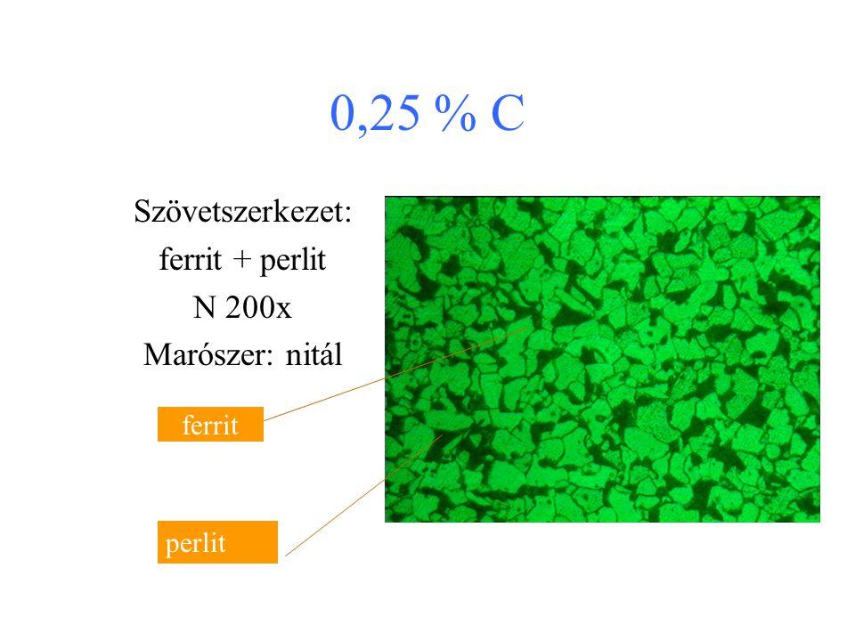 0,15 % C Szövetszerkezet: ferrit + perlit N 200x Marószer: nitál (alkoholos salétromsav) ferrit perlit