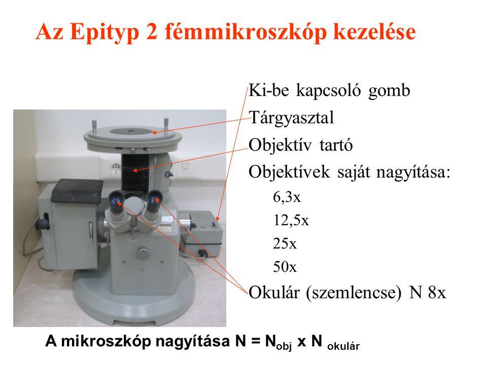 Feladat 1.Acélok és öntöttvasak egyensúlyi szövetszerkezetének vizsgálata Epityp 2 fémmikroszkóp segítségével Az elméleti anyag segítségével a kiadott
