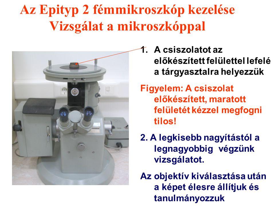 Az Epityp 2 fémmikroszkóp kezelése Állítási lehetőségek 2 A nagyítás változtatása: Az objektív változtatásával Az objektív tartó dobot kézzel megfogju