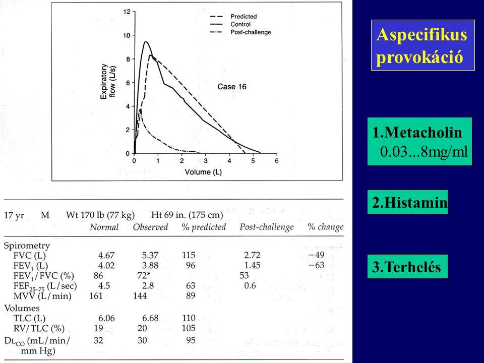 Aspecifikus provokáció 1.Metacholin 0.03...8mg/ml 2.Histamin 3.Terhelés