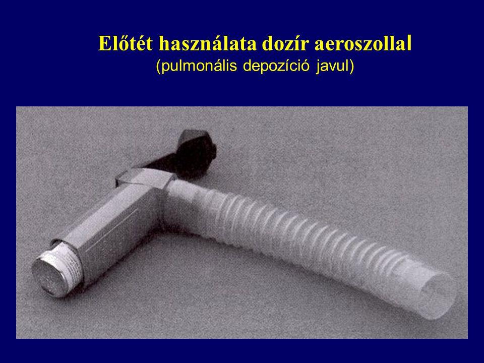 Előtét használata dozír aeroszolla l (pulmonális depozíció javul)