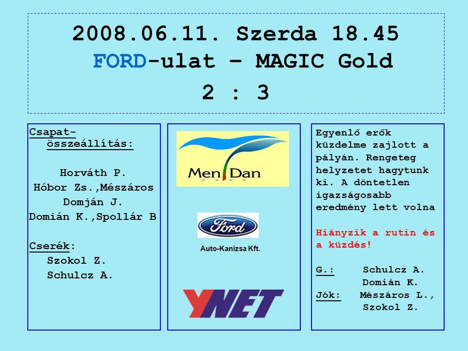 2008.06.11. Szerda 18.45 FORD-ulat – MAGIC Gold 2 : 3 Auto-Kanizsa Kft.