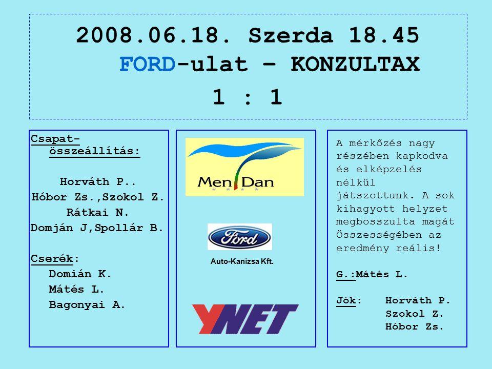 2008.06.18. Szerda 18.45 FORD-ulat – KONZULTAX 1 : 1 Auto-Kanizsa Kft.