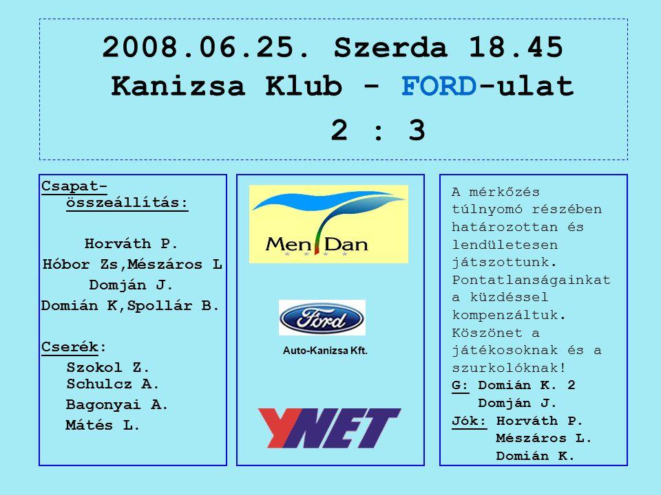 2008.06.25. Szerda 18.45 Kanizsa Klub - FORD-ulat 2 : 3 Auto-Kanizsa Kft.