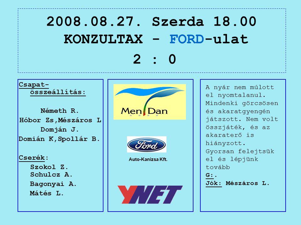 2008.08.27. Szerda 18.00 KONZULTAX - FORD-ulat 2 : 0 Auto-Kanizsa Kft.