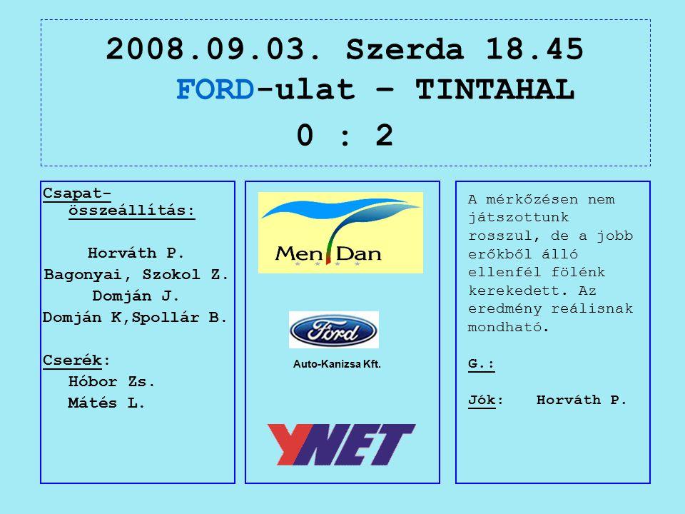 2008.09.03. Szerda 18.45 FORD-ulat – TINTAHAL 0 : 2 Auto-Kanizsa Kft.