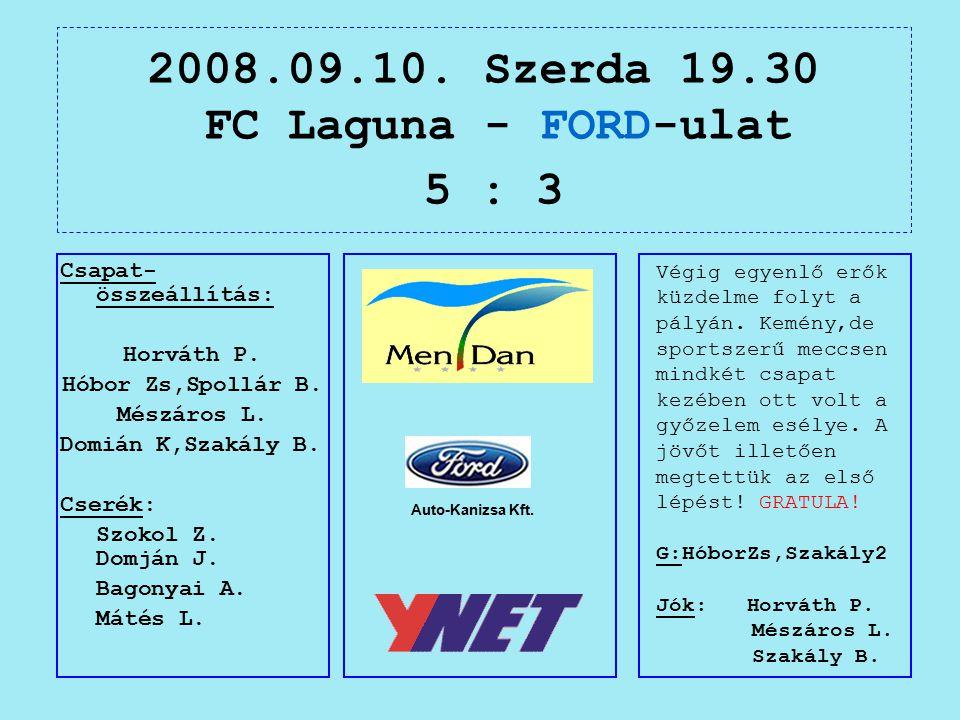 2008.09.10. Szerda 19.30 FC Laguna - FORD-ulat 5 : 3 Auto-Kanizsa Kft.