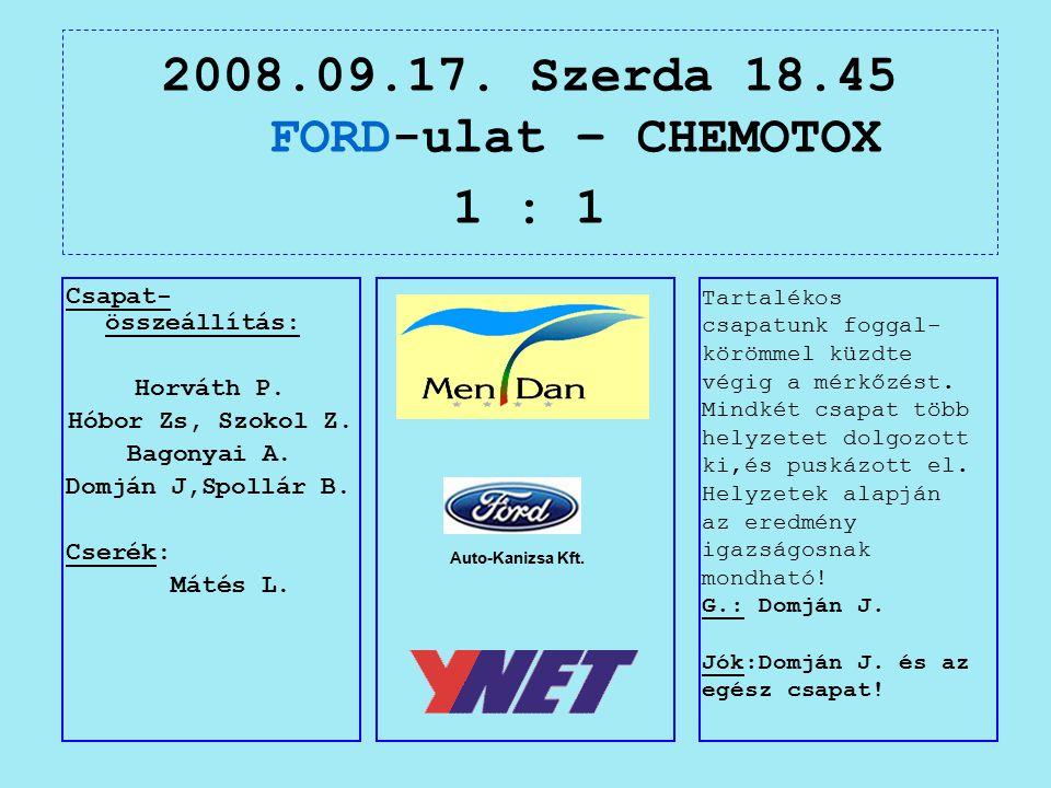 2008.09.17. Szerda 18.45 FORD-ulat – CHEMOTOX 1 : 1 Auto-Kanizsa Kft.