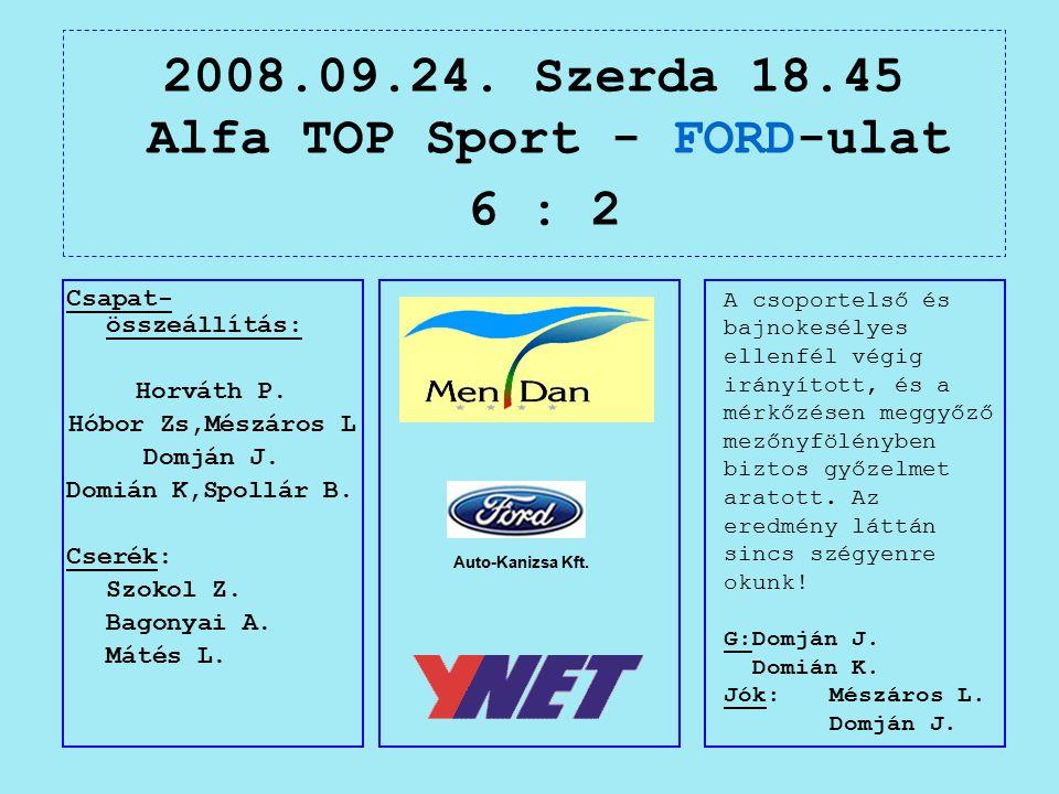 2008.09.24. Szerda 18.45 Alfa TOP Sport - FORD-ulat 6 : 2 Auto-Kanizsa Kft.