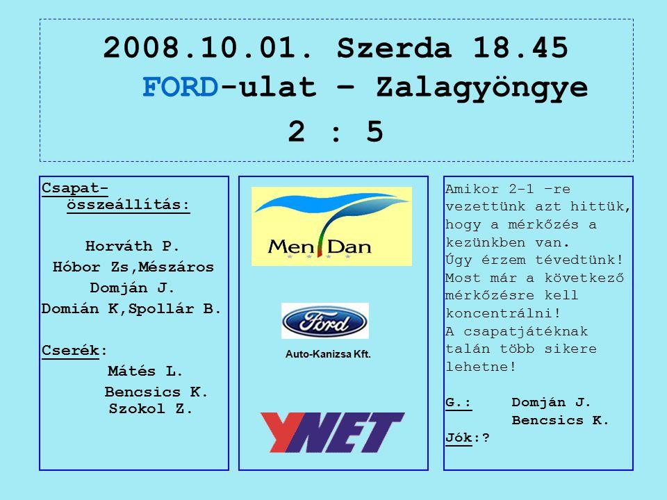 2008.10.01. Szerda 18.45 FORD-ulat – Zalagyöngye 2 : 5 Auto-Kanizsa Kft.