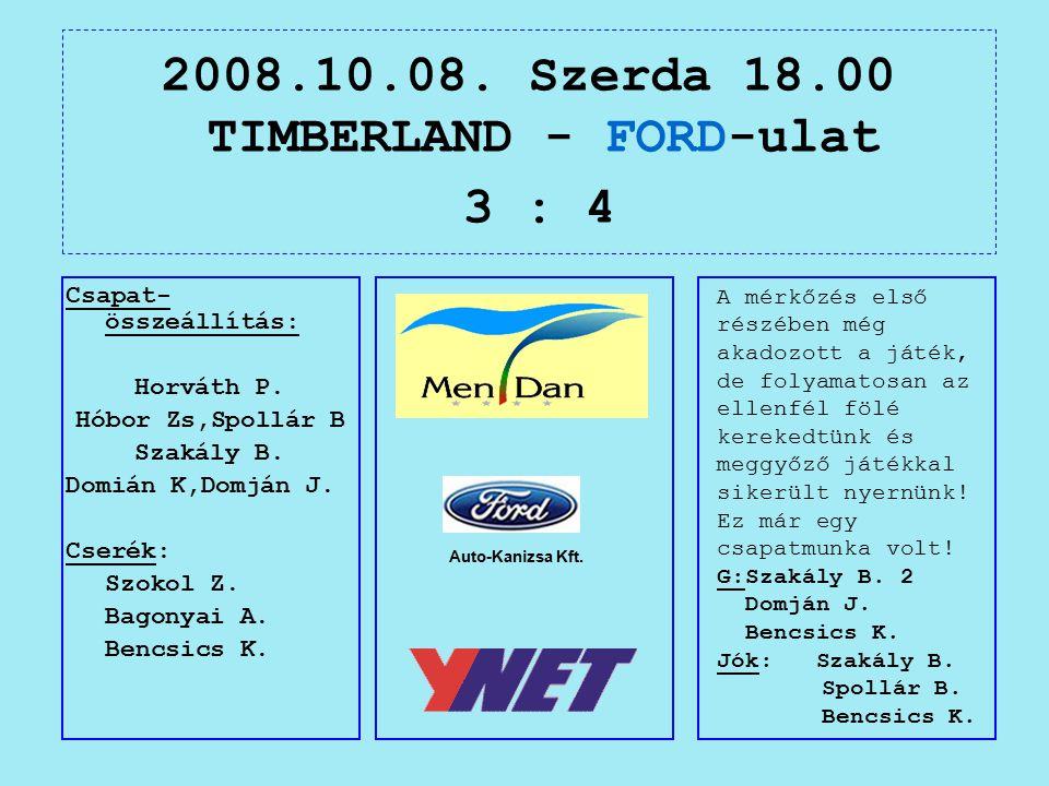 2008.10.08. Szerda 18.00 TIMBERLAND - FORD-ulat 3 : 4 Auto-Kanizsa Kft.