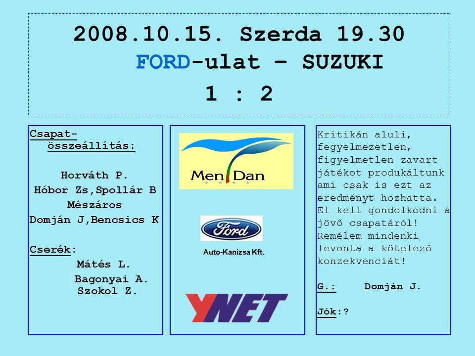 2008.10.15. Szerda 19.30 FORD-ulat – SUZUKI 1 : 2 Auto-Kanizsa Kft.