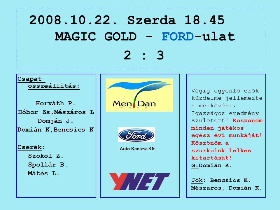 2008.10.22. Szerda 18.45 MAGIC GOLD - FORD-ulat 2 : 3 Auto-Kanizsa Kft.