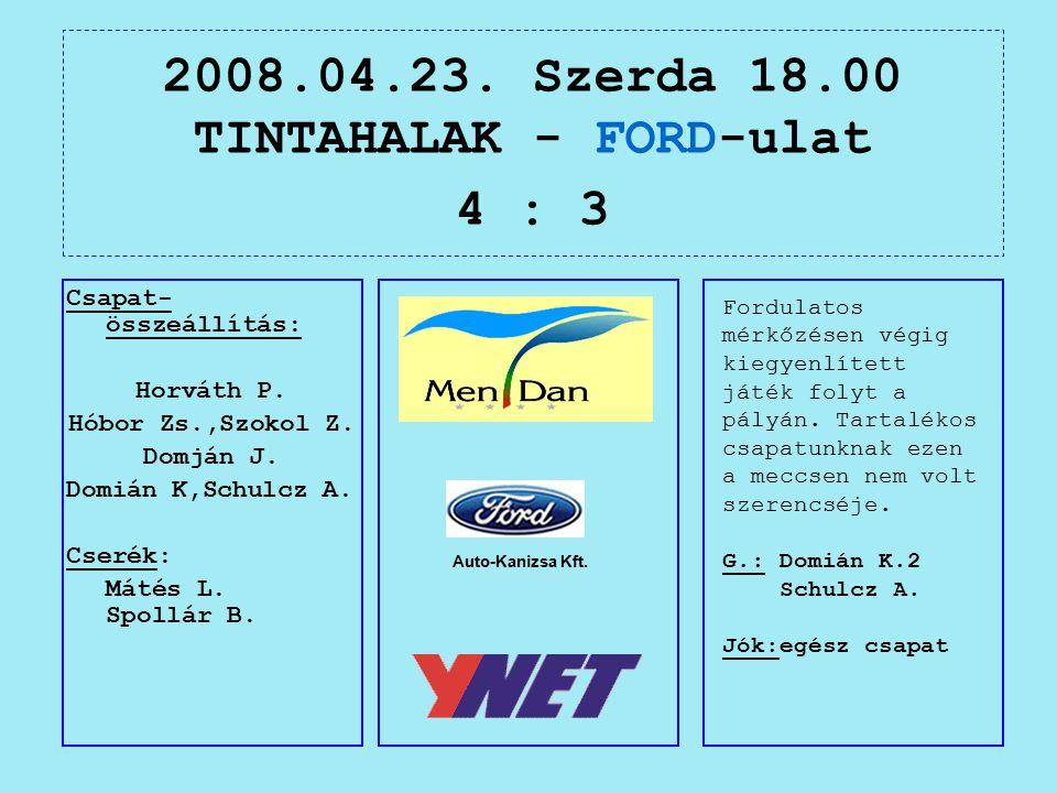 2008.04.23. Szerda 18.00 TINTAHALAK - FORD-ulat 4 : 3 Auto-Kanizsa Kft.