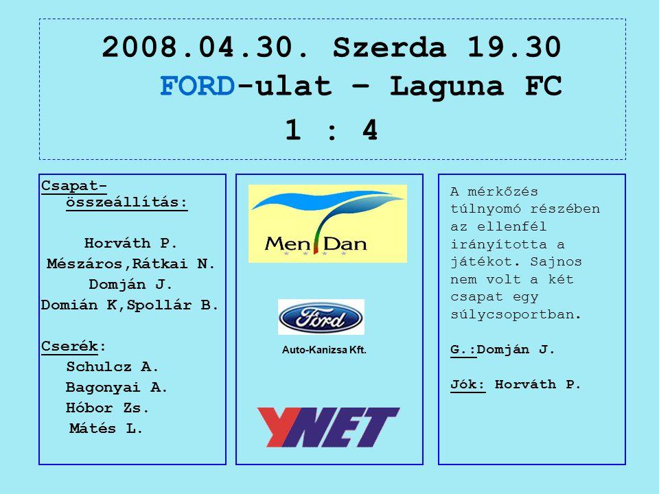 2008.04.30. Szerda 19.30 FORD-ulat – Laguna FC 1 : 4 Auto-Kanizsa Kft.