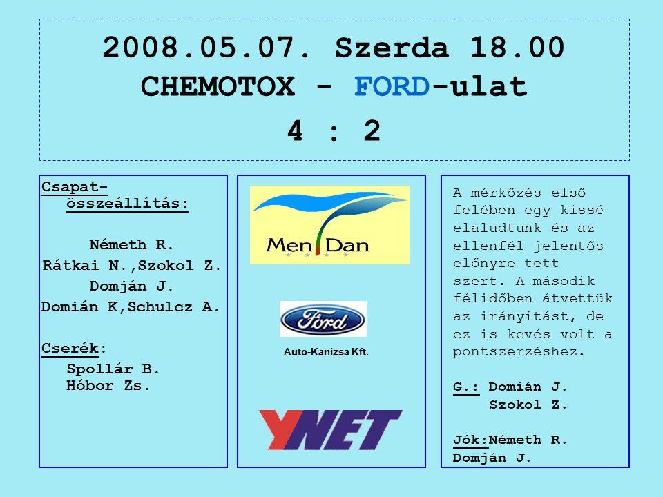 2008.05.07. Szerda 18.00 CHEMOTOX - FORD-ulat 4 : 2 Auto-Kanizsa Kft.