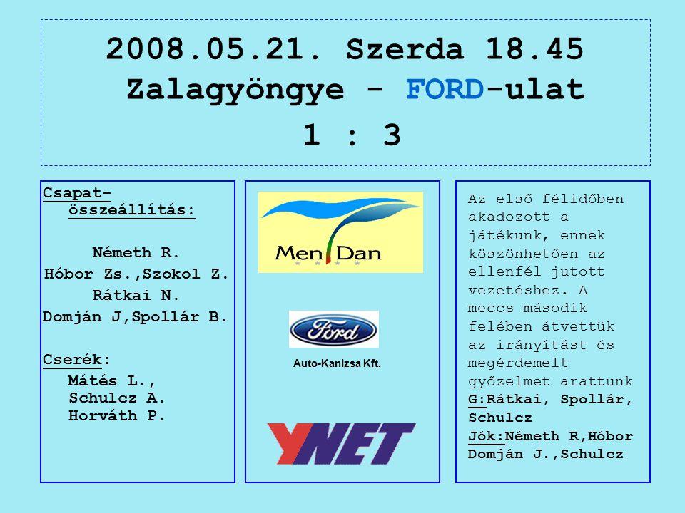 2008.05.21. Szerda 18.45 Zalagyöngye - FORD-ulat 1 : 3 Auto-Kanizsa Kft.