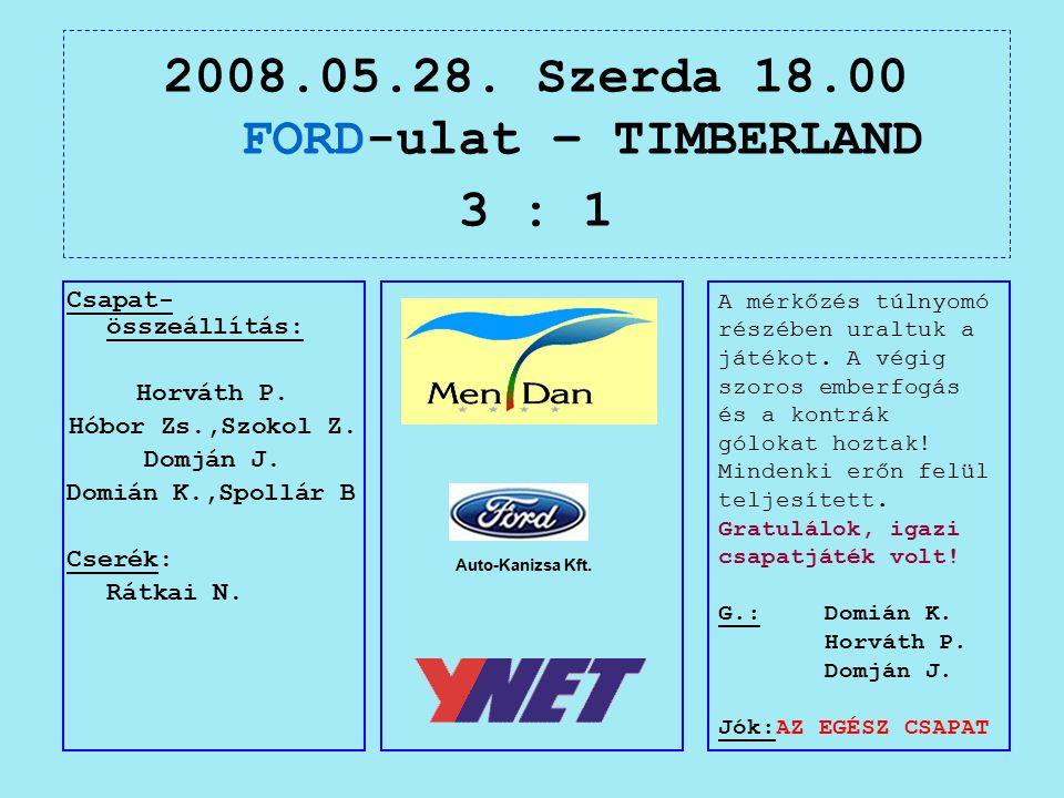 2008.05.28. Szerda 18.00 FORD-ulat – TIMBERLAND 3 : 1 Auto-Kanizsa Kft.