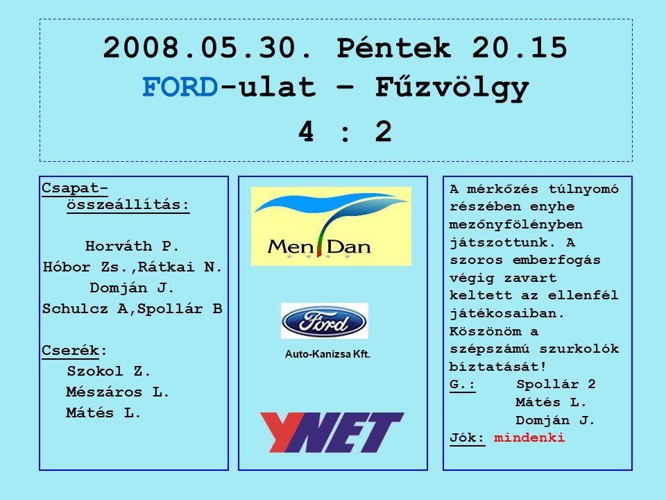 2008.05.30. Péntek 20.15 FORD-ulat – Fűzvölgy 4 : 2 Auto-Kanizsa Kft.