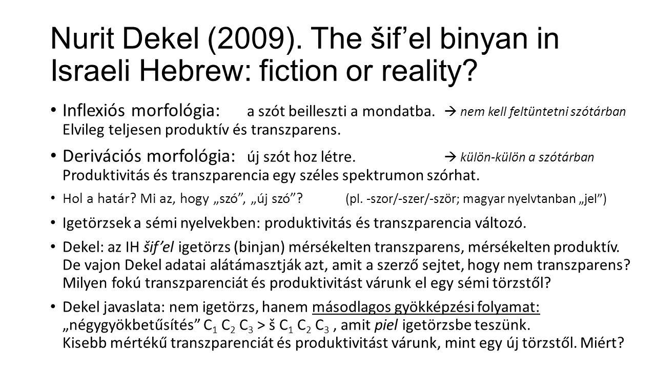 Nurit Dekel (2009).The šif'el binyan in Israeli Hebrew: fiction or reality.