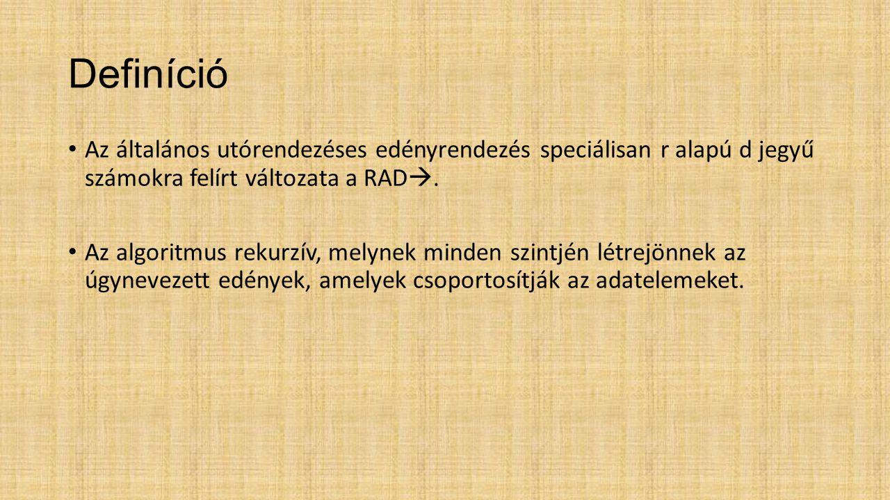 Definíció Az általános utórendezéses edényrendezés speciálisan r alapú d jegyű számokra felírt változata a RAD .