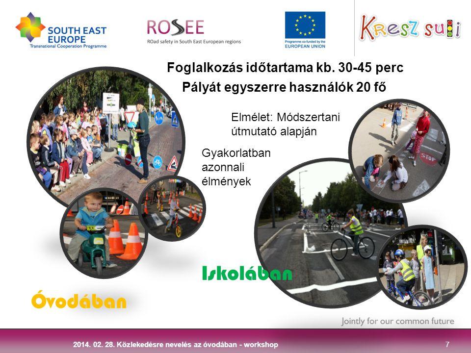 7 2014. 02. 28. Közlekedésre nevelés az óvodában - workshop Óvodában Iskolában Foglalkozás időtartama kb. 30-45 perc Pályát egyszerre használók 20 fő