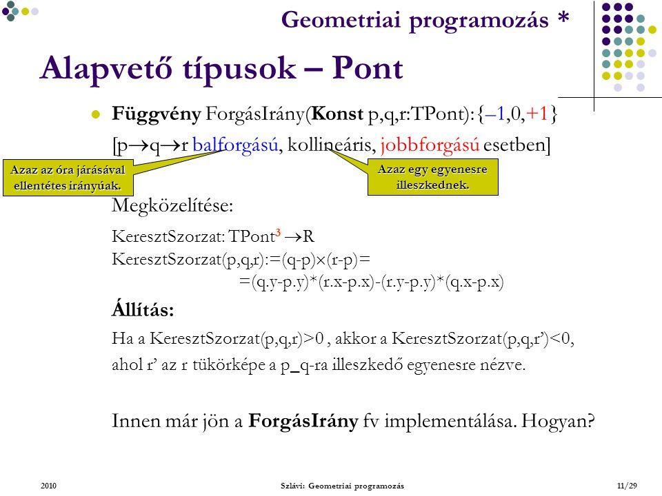 Geometriai feladatok programozása * Geometriai programozás * 2010Szlávi: Geometriai programozás11/29 Alapvető típusok – Pont Függvény ForgásIrány(Konst p,q,r:TPont):{–1,0,+1} [p  q  r balforgású, kollineáris, jobbforgású esetben] Megközelítése: KeresztSzorzat: TPont 3  R KeresztSzorzat(p,q,r):=(q-p)  (r-p)= =(q.y-p.y)*(r.x-p.x)-(r.y-p.y)*(q.x-p.x) Állítás: Ha a KeresztSzorzat(p,q,r)>0, akkor a KeresztSzorzat(p,q,r')<0, ahol r' az r tükörképe a p_q-ra illeszkedő egyenesre nézve.