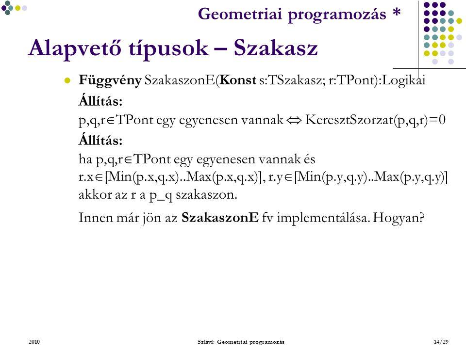 Geometriai feladatok programozása * Geometriai programozás * 2010Szlávi: Geometriai programozás14/29 Alapvető típusok – Szakasz Függvény SzakaszonE(Konst s:TSzakasz; r:TPont):Logikai Állítás: p,q,r  TPont egy egyenesen vannak  KeresztSzorzat(p,q,r)=0 Állítás: ha p,q,r  TPont egy egyenesen vannak és r.x  [Min(p.x,q.x)..Max(p.x,q.x)], r.y  [Min(p.y,q.y)..Max(p.y,q.y)] akkor az r a p_q szakaszon.