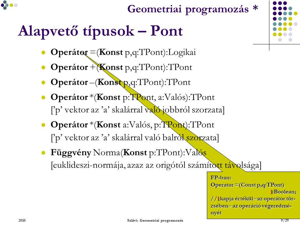Geometriai feladatok programozása * Geometriai programozás * 2010Szlávi: Geometriai programozás20/29 Alapvető típusok – Szakasz Függvény Merőleges(Konst s:TSzakasz, r:TPont):TSzakasz [Uf: az s szakaszt tartalmazó egyenesre merőleges szakasz, amely egyik végpontja az r] Allítás: Az r-en átmenő s-re merőleges egyenest a következő lépésekben kaphatjuk meg: 1.