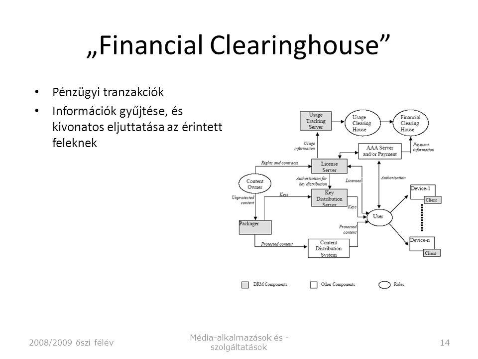 """""""Financial Clearinghouse Pénzügyi tranzakciók Információk gyűjtése, és kivonatos eljuttatása az érintett feleknek 2008/2009 őszi félév Média-alkalmazások és - szolgáltatások 14"""