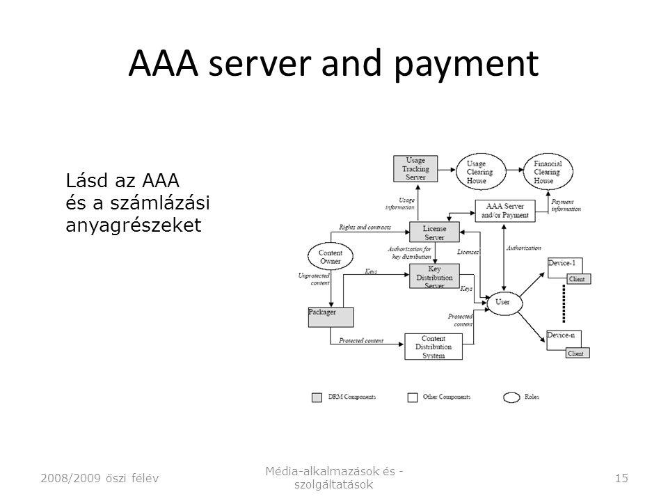 AAA server and payment 2008/2009 őszi félév Média-alkalmazások és - szolgáltatások 15 Lásd az AAA és a számlázási anyagrészeket
