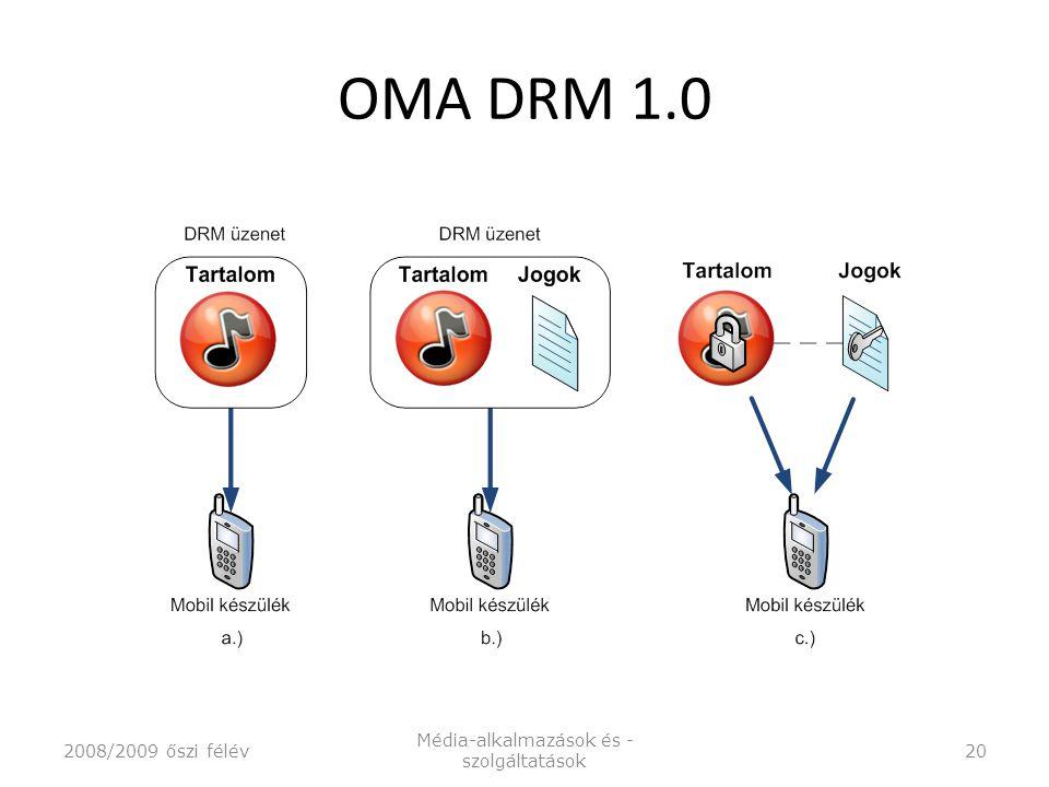 OMA DRM 1.0 2008/2009 őszi félév Média-alkalmazások és - szolgáltatások 20