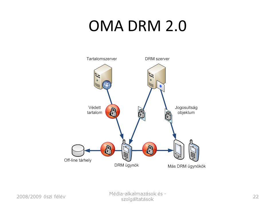 OMA DRM 2.0 2008/2009 őszi félév Média-alkalmazások és - szolgáltatások 22