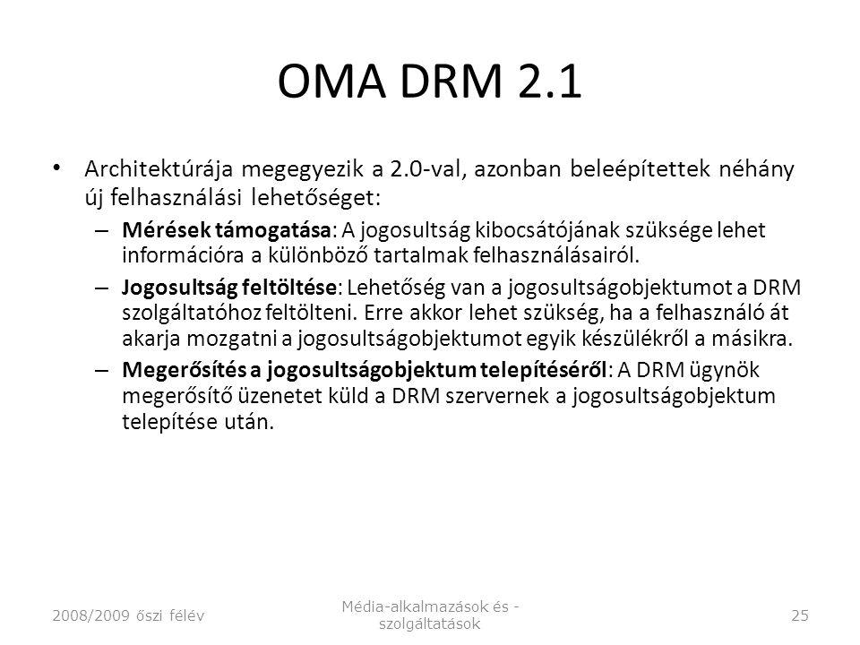 OMA DRM 2.1 Architektúrája megegyezik a 2.0-val, azonban beleépítettek néhány új felhasználási lehetőséget: – Mérések támogatása: A jogosultság kibocsátójának szüksége lehet információra a különböző tartalmak felhasználásairól.