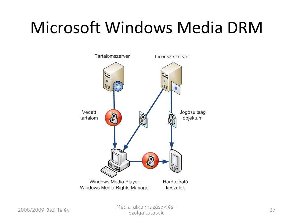 Microsoft Windows Media DRM 2008/2009 őszi félév Média-alkalmazások és - szolgáltatások 27