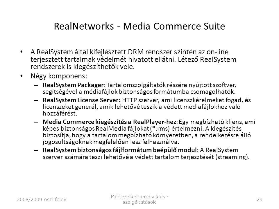 RealNetworks - Media Commerce Suite A RealSystem által kifejlesztett DRM rendszer szintén az on-line terjesztett tartalmak védelmét hivatott ellátni.