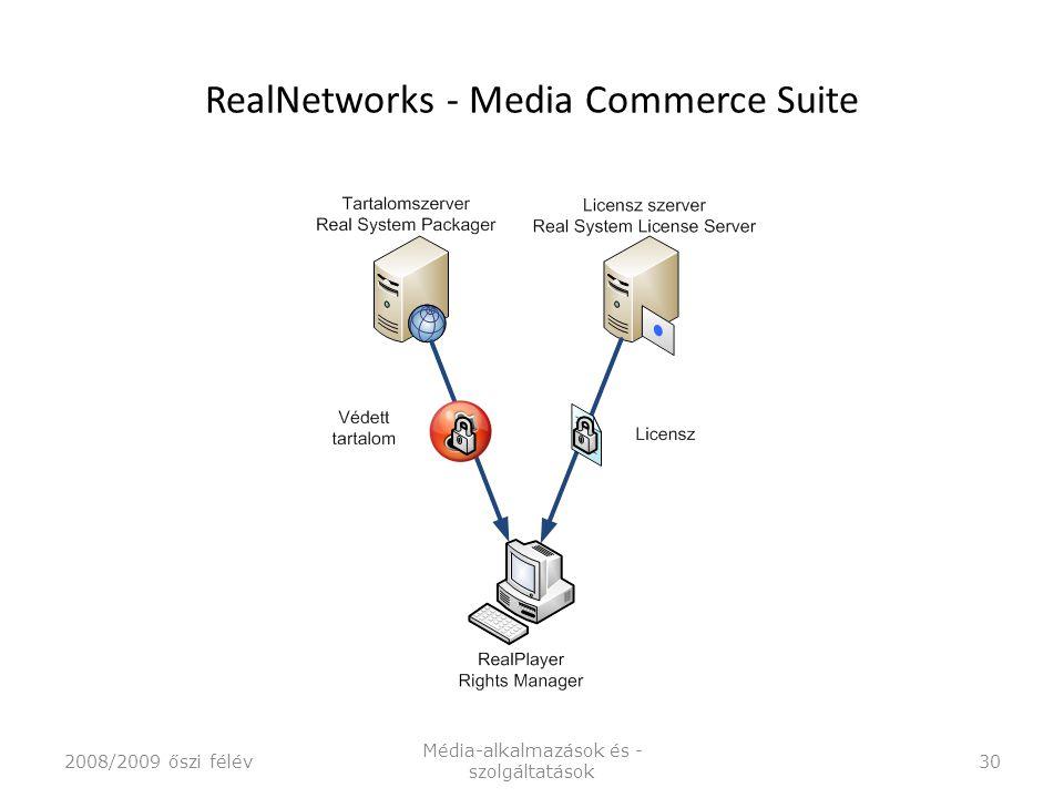 RealNetworks - Media Commerce Suite 2008/2009 őszi félév Média-alkalmazások és - szolgáltatások 30