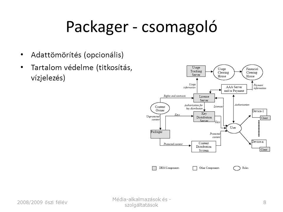 Packager - csomagoló Adattömörítés (opcionális) Tartalom védelme (titkosítás, vízjelezés) 2008/2009 őszi félév Média-alkalmazások és - szolgáltatások 8