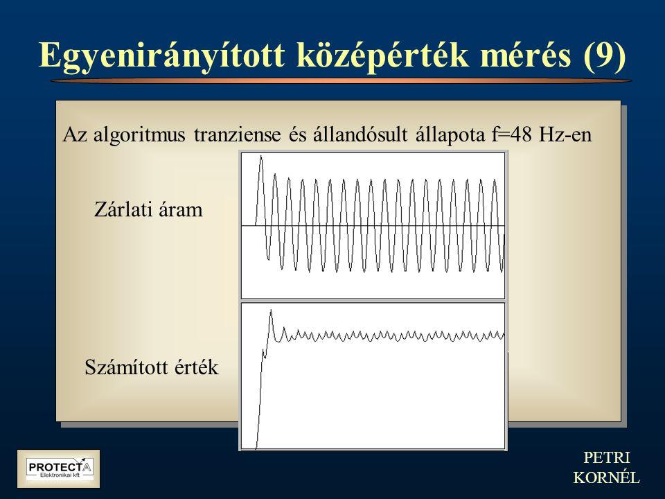 PETRI KORNÉL Egyenirányított középérték mérés (9) Az algoritmus tranziense és állandósult állapota f=48 Hz-en Zárlati áram Számított érték