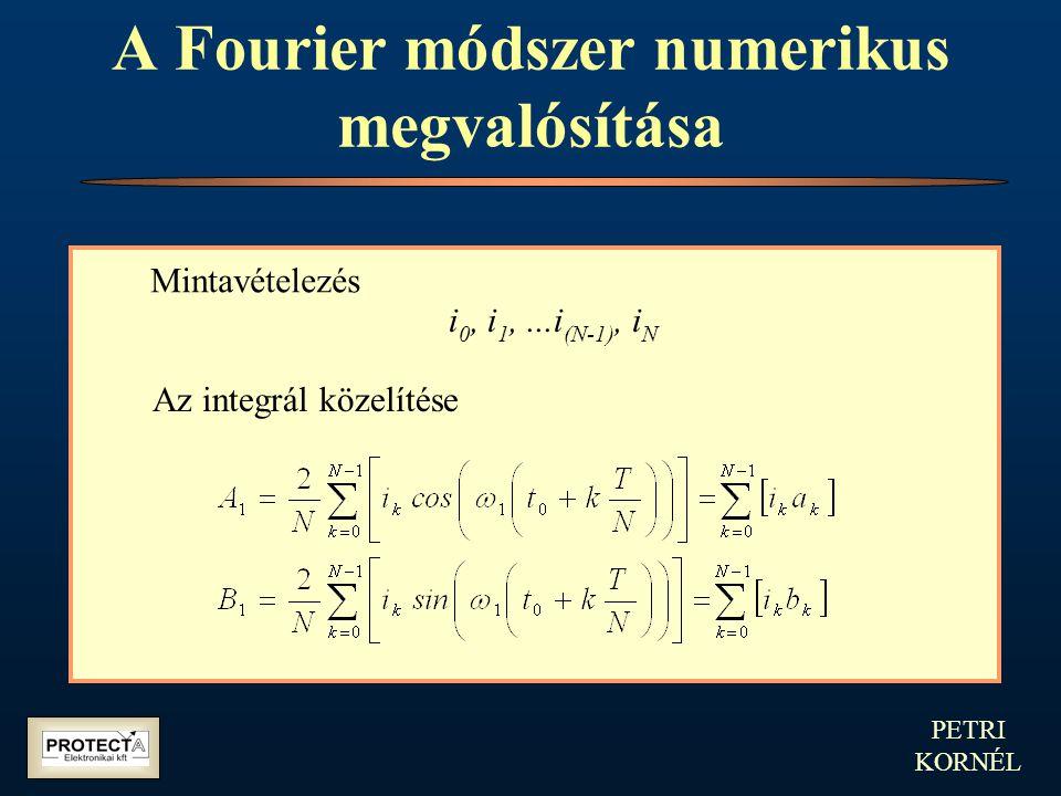 PETRI KORNÉL A Fourier módszer numerikus megvalósítása Mintavételezés i 0, i 1,...i (N-1), i N Az integrál közelítése