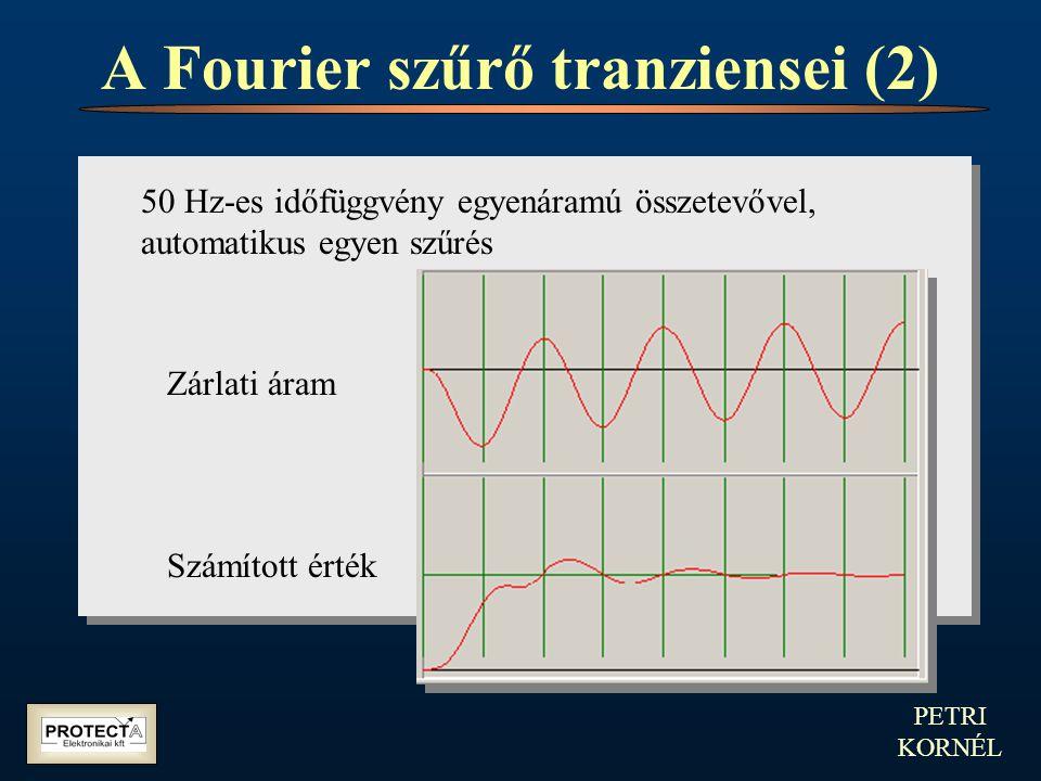 PETRI KORNÉL A Fourier szűrő tranziensei (2) 50 Hz-es időfüggvény egyenáramú összetevővel, automatikus egyen szűrés Zárlati áram Számított érték