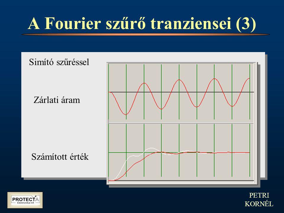 PETRI KORNÉL A Fourier szűrő tranziensei (3) Simító szűréssel Zárlati áram Számított érték