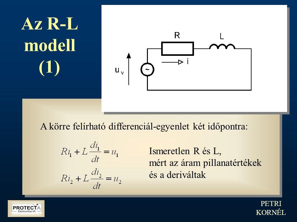 PETRI KORNÉL Az R-L modell (1) A körre felírható differenciál-egyenlet két időpontra: Ismeretlen R és L, mért az áram pillanatértékek és a deriváltak