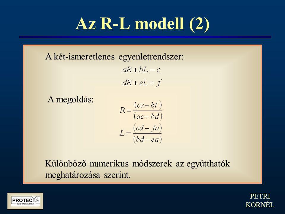 PETRI KORNÉL Az R-L modell (2) A két-ismeretlenes egyenletrendszer: A megoldás: Különböző numerikus módszerek az együtthatók meghatározása szerint.