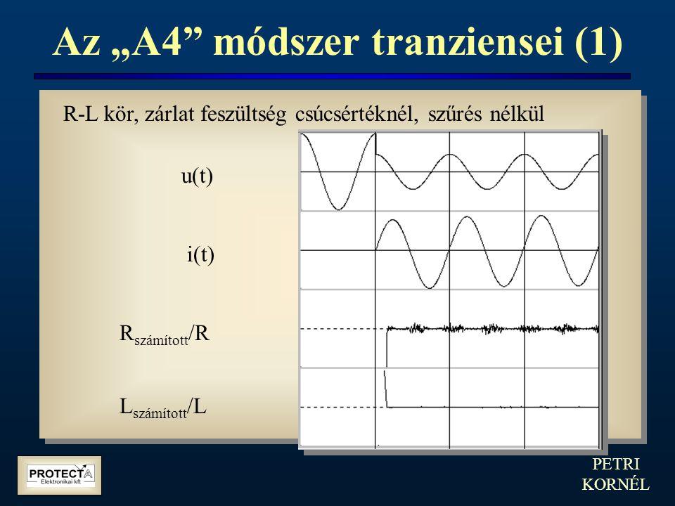 """PETRI KORNÉL Az """"A4"""" módszer tranziensei (1) u(t) i(t) R számított /R L számított /L R-L kör, zárlat feszültség csúcsértéknél, szűrés nélkül"""